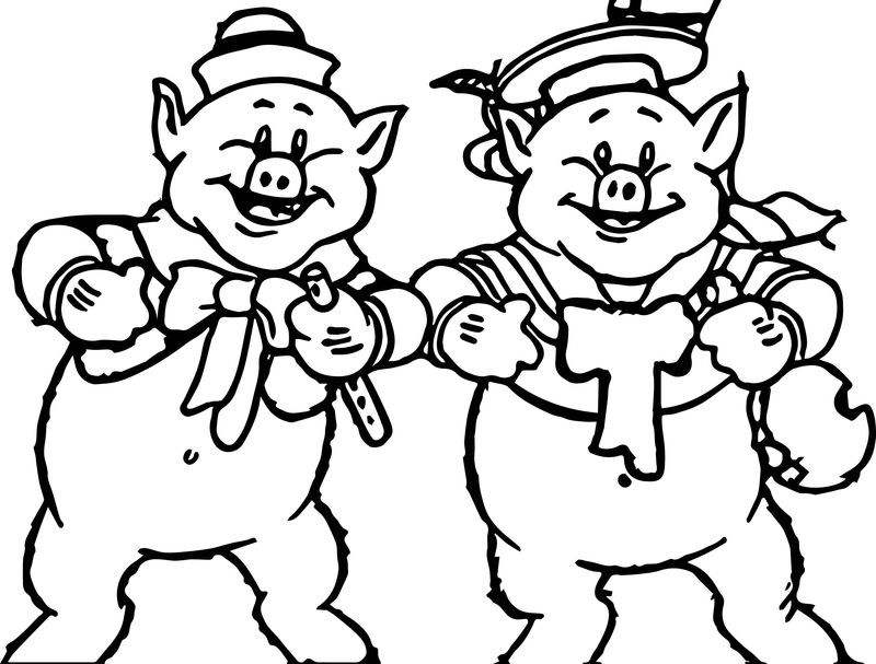 The Three Two Little Pigs Coloring Page