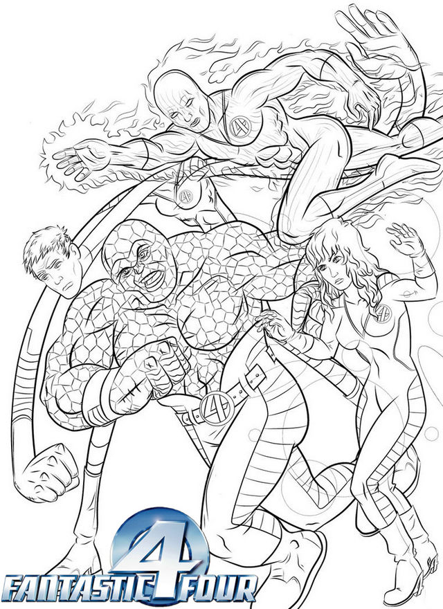 The Fantastic Fant4stic Superpowers Coloring Page 1