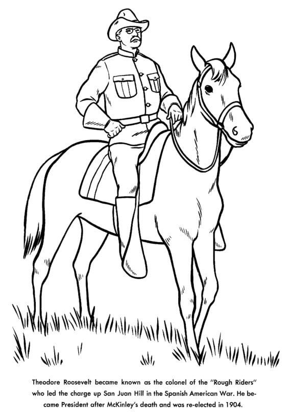 Theodore Roosevelt Horseback Presidents Day Coloring Page