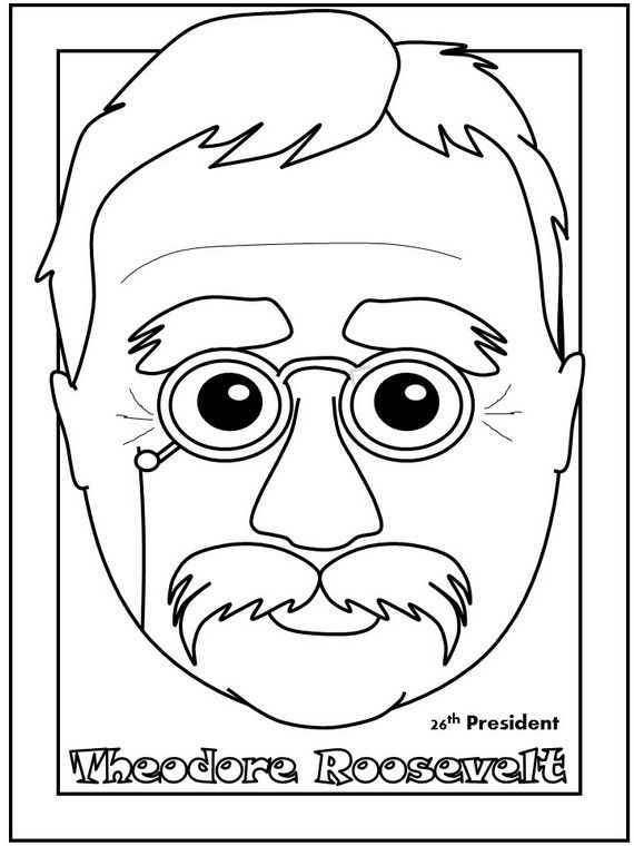 Theodore Roosevelt Presidents Day Coloring Page