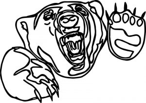 Thing angry outline bear coloring page