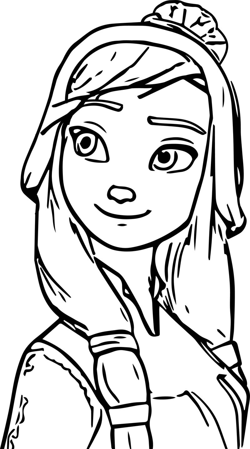 Thinking Anna Face Close Coloring Page