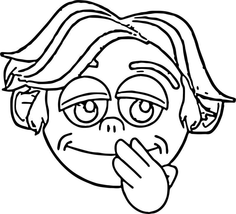 Thinking Boy Face Coloring Page