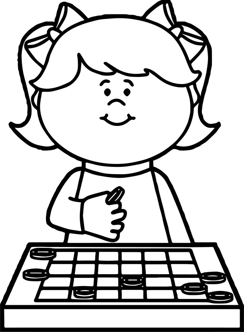Thinking Girl Board Game Coloring Page