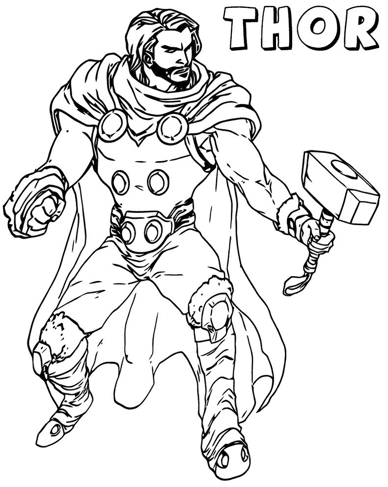 Thor The Avenger Marvel Coloring Pages