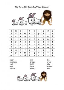 Three billy goats gruff worksheets word search