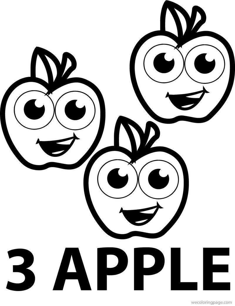 Three Cartoon Apple Coloring Pages