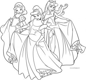 Three disney princess dance coloring page