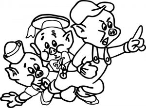 Three little pig coloring page