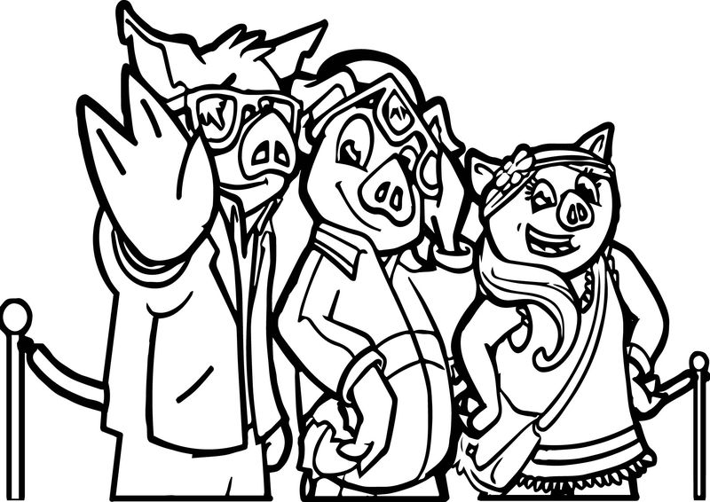 Three Little Pigs Characters Coloring Page
