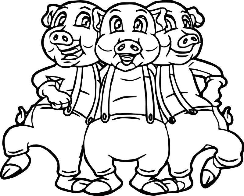 Three Little Pigs Dancing Coloring Page