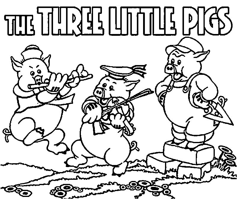 Three Little Pigs Edit Small Coloring Page