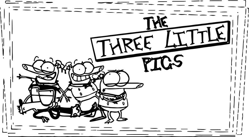 Three Little Pigs Title Card Coloring Page