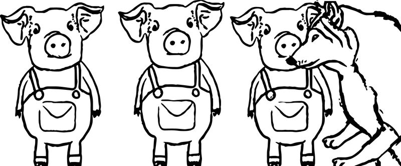 Three Little Pigs Warning Coloring Page