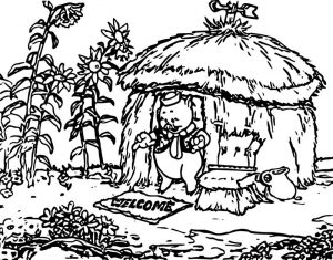 Three pig straw coloring page