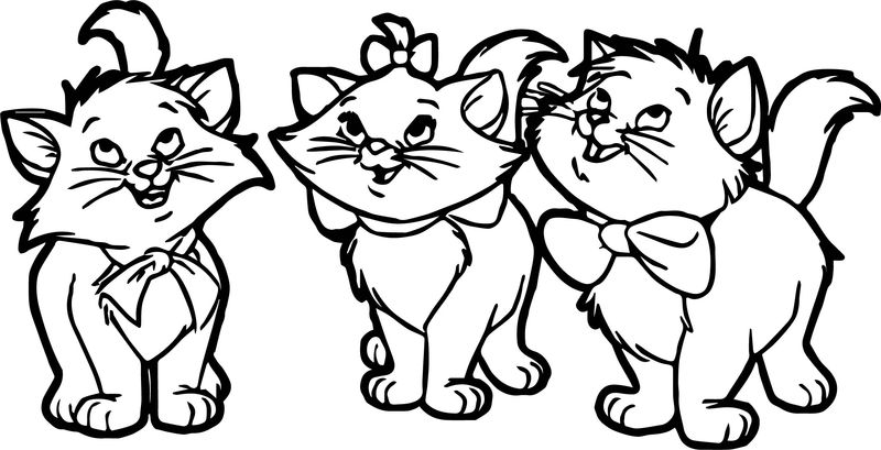 Three Small Disney The Aristocats Coloring Page