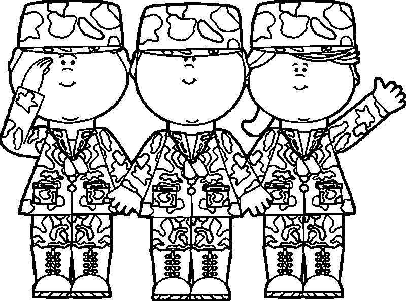 Three Soldier Kids Coloring Page