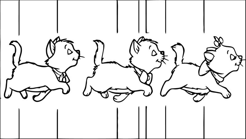 Three Walking Cats Disney The Aristocats Coloring Page