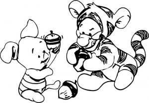 Tigger piglet babies acorn autumn coloring page
