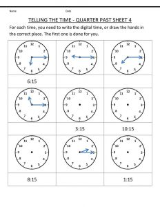 Time elapsed worksheet quarter past