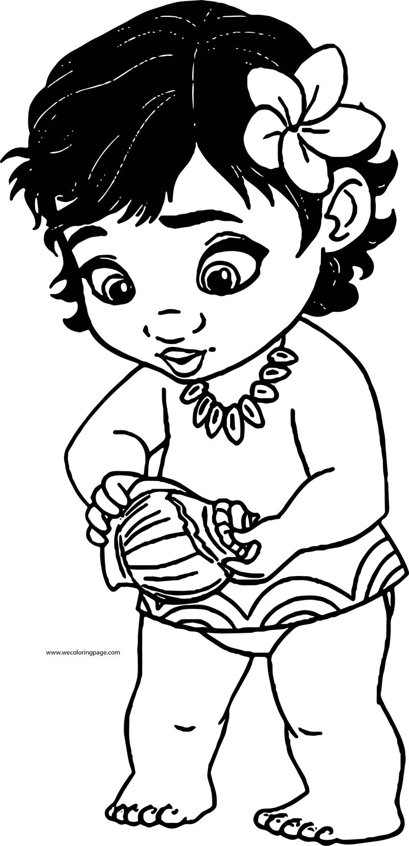 Toddler Moana Kid Girl Coloring Page