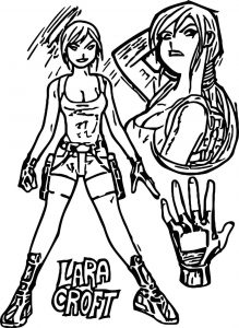 Tomb raider character design coloring page