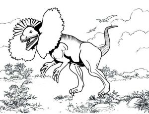 Top awesome giant dilophosaurus coloring page