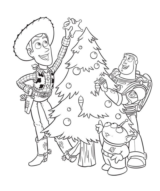 Toy Story Disney Christmas Coloring Pages