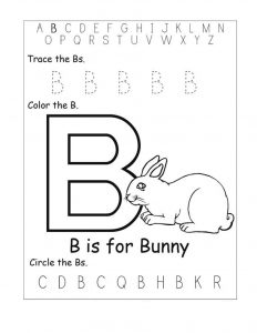 Trace letter b bunny
