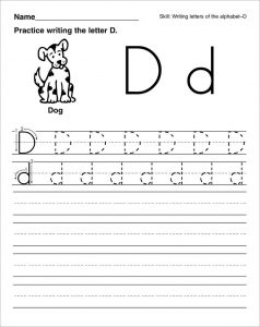 Trace letter d dog