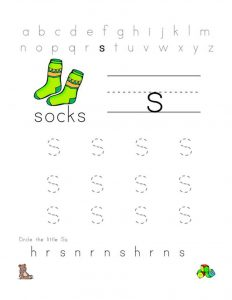 Trace letter s sock