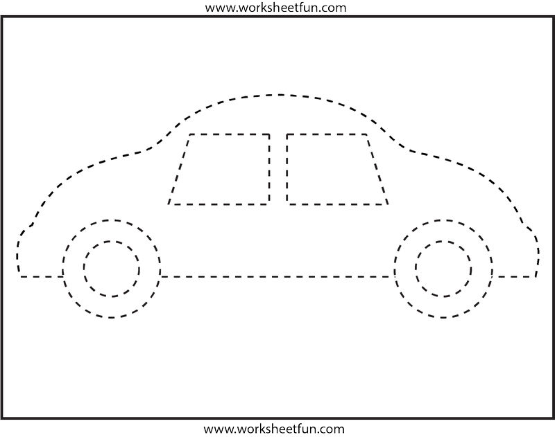 Trace The Car Worksheet For Kindergarten