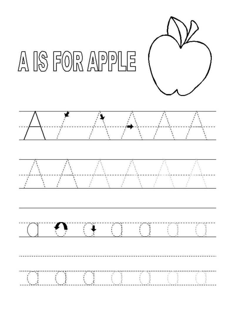Trace The Letter A Fruit