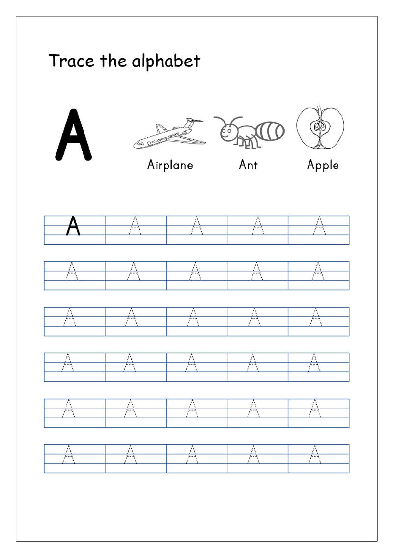 Trace The Letter A Sheet