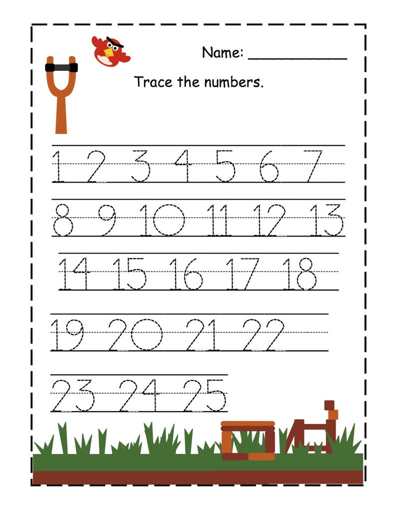 Trace The Numbers 1 25