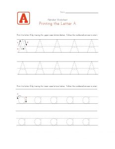 Traceable letter worksheets a 001