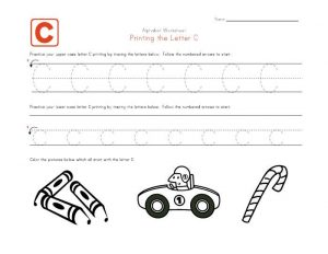Traceable letter worksheets c 001