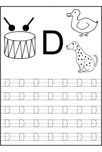 Traceable letters worksheets letter d