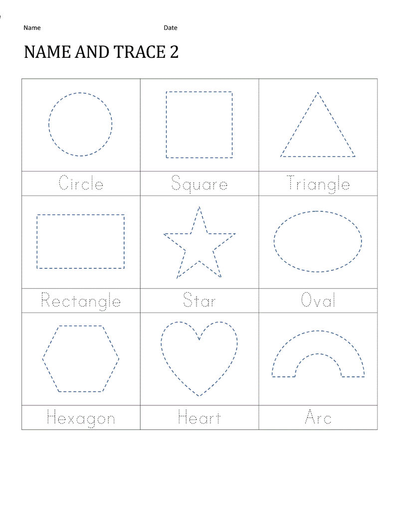 Traceable Names Worksheets Shape