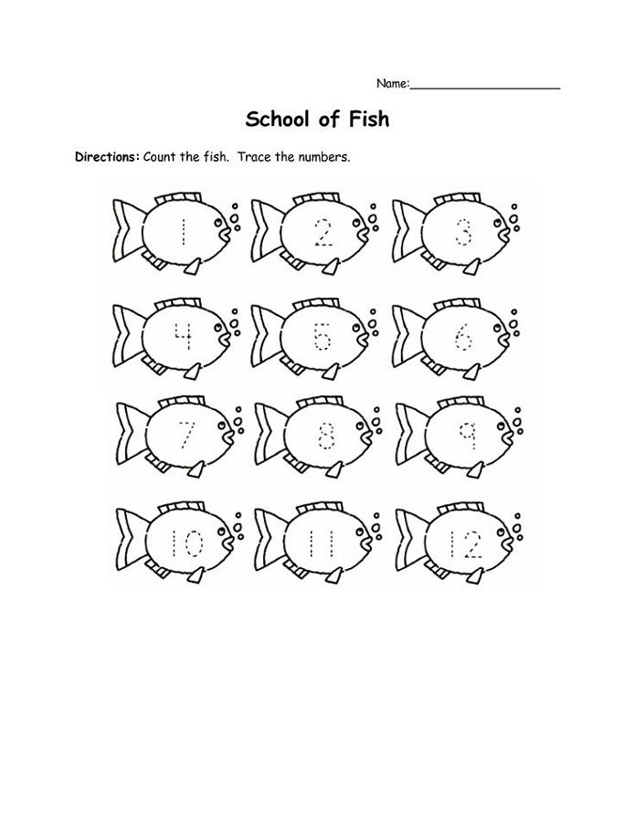 Traceable Numbers Worksheets Fish