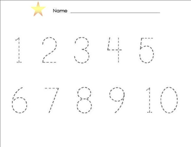 Tracing Numbers 1 10 Free Printable 001