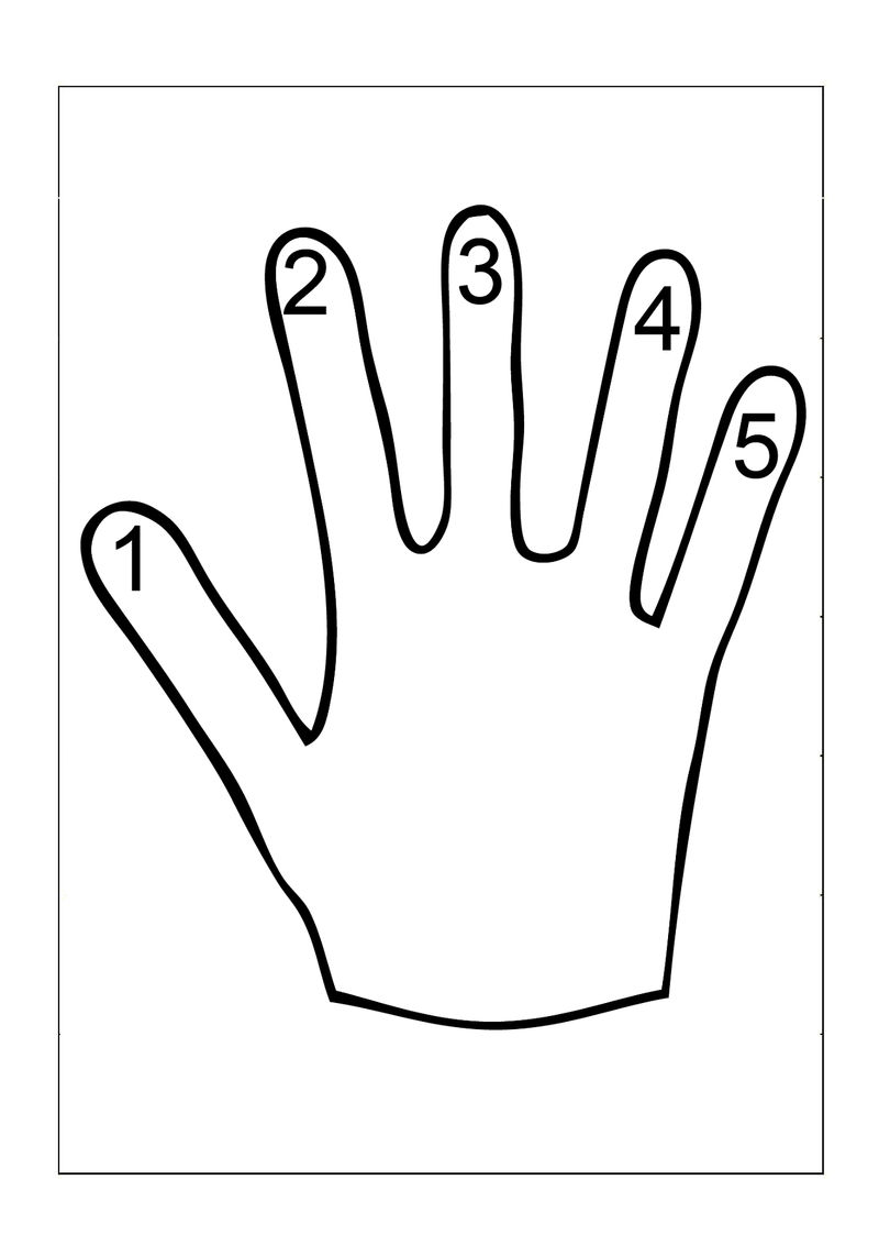 Tracing Numbers 1 5 Hand