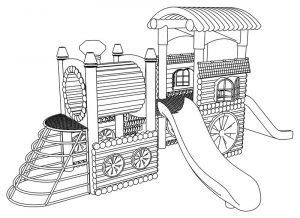 Train playground coloring page