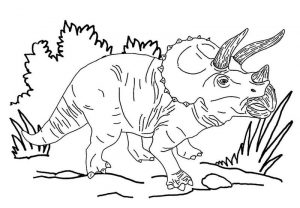 Triceratops three horned dinosaur coloring page
