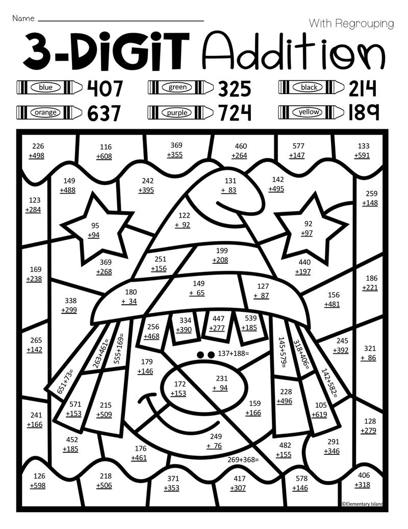 Triple Digit Addition Coloring Worksheets - Coloring Sheets