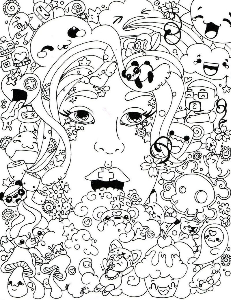 Trippy Face Coloring Page