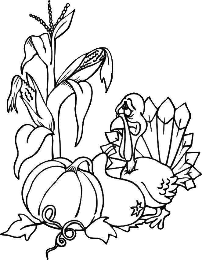 Turkey Harvest Coloring Pages