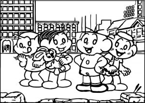 Turma da monica and friends at street coloring page