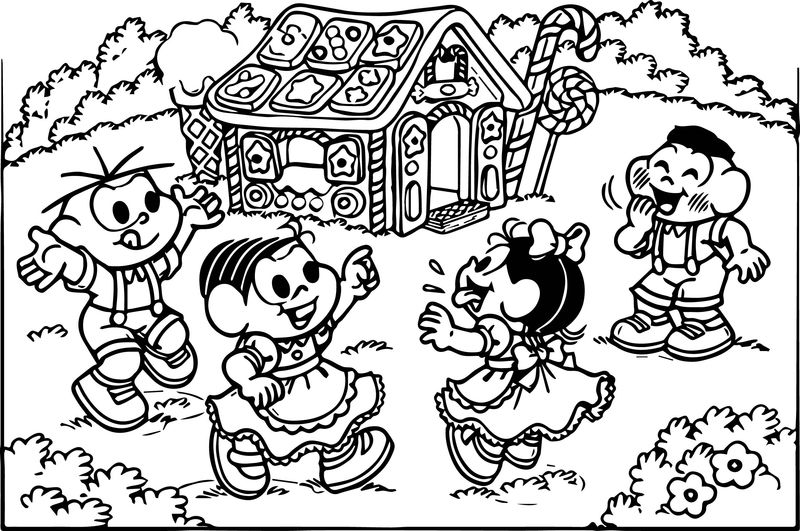 Turma Da Monica And Friends Candy House Coloring Page