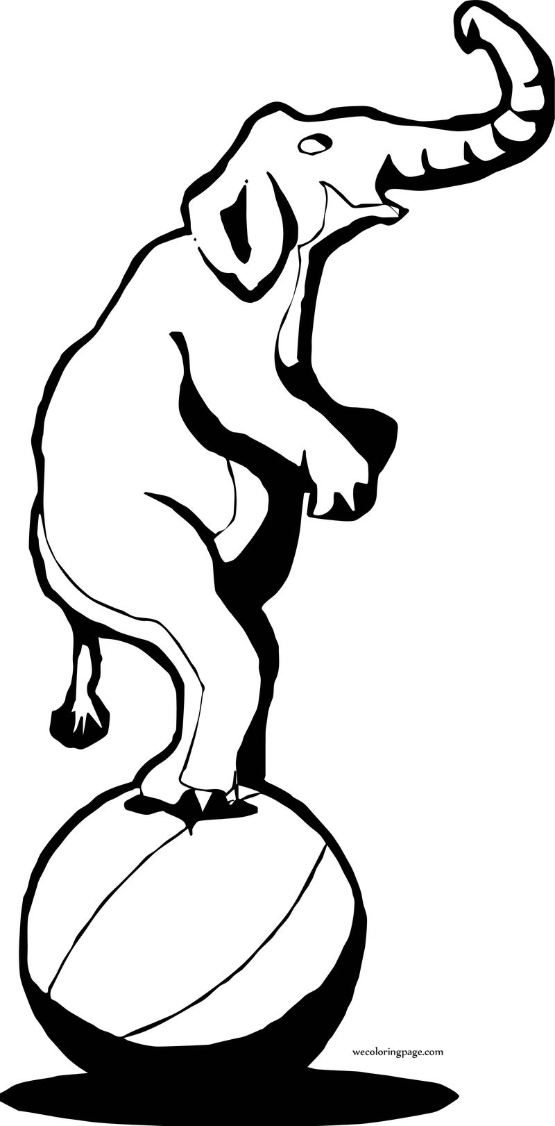 Turn Ball Elephant Coloring Page